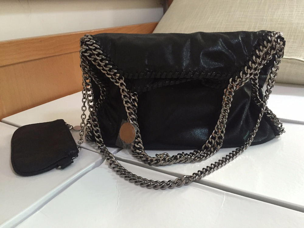 2015 Fashion Women Brand 3 Chain Tote Bag Falabella small fold over shoulder bag PVC Material Black Silver Gold Chain(China (Mainland))