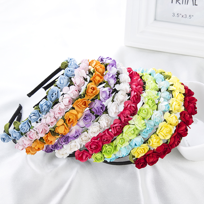 2015 Cute Rose Flower Crown Festival Headband Headwear Wedding Garland Floral Hairband Accessories(China (Mainland))