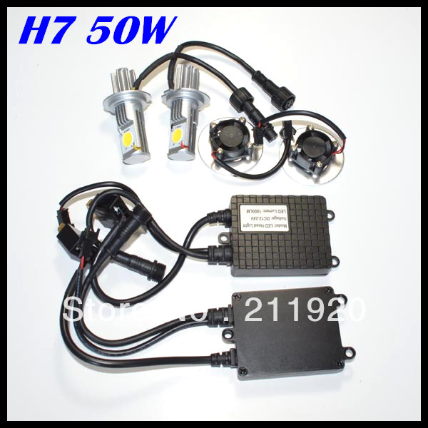 NEW product LED Headlight 50w Super Bright High Lumen 50W 1800LM H7 CREE CXA1512 chips Car Auto Headlight Free shipping