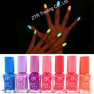1 bottle Mini Fluorescent Nail Polish Glitter Glow Luminous In The Dark Cheap Branded China Non-toxic Glass Bottle with Brush(China (Mainland))