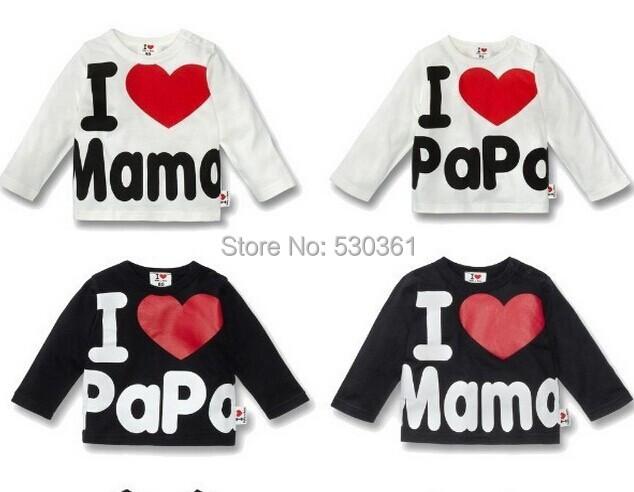 New 2015 Baby Girls and Boys Summer long sleeve T-shirt children's clothing retail, i love papa and mama.(China (Mainland))