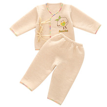 2 Pcs/Set Safe Thick Baby Boys Girls Long Sleeve Sleepwear Cotton Pajamas Adjustable Lace Up Baby Clothing Set(China (Mainland))