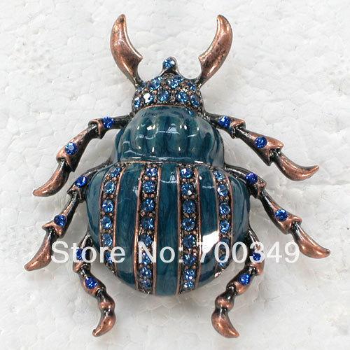 Wholesale 12piece/lot Sapphire Crystal Rhinestone Enameling Beetles Pin Brooch C643 B3<br><br>Aliexpress