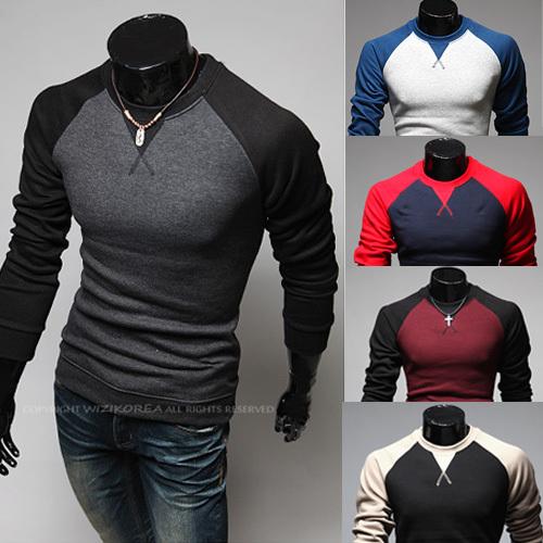 Free Shipping! Fashion Brand Mens Clothing Long Sleeve T shirt Baseball Sport Casual Men TShirt O-neck Contrast-Color Undershirt(China (Mainland))
