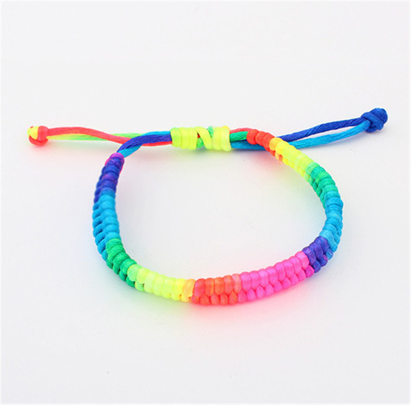 zly061 adjustable macrame bracelet rainbow fluorescent color woven bracelet in wrap bracelets. Black Bedroom Furniture Sets. Home Design Ideas