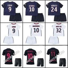 2015 2016 kid kit survetement football 3rd away Soccer jersey verratti matuidi cavani di maria zlatan ibrahimovic jersey (China (Mainland))