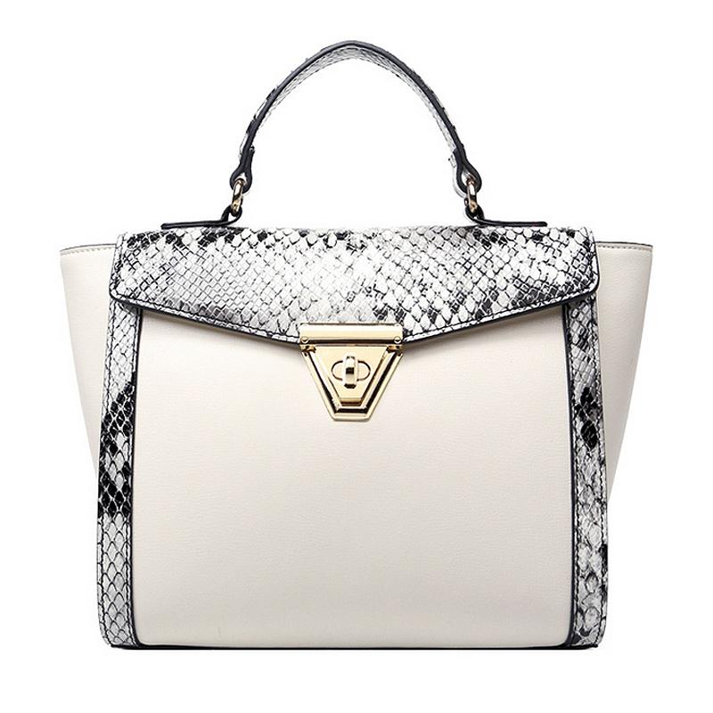 2016 New fashion European and American Style Women Handbags Serpentine PU Metal Lock Trapeze Shoulder Bag Black Blue White Color(China (Mainland))