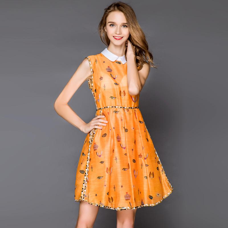 orange printed dress 2016 women brand summer dresses elegant cute slim turn-down collar sleeveless casual dress bodycon dress(China (Mainland))