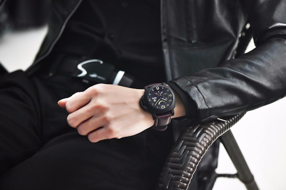 Топ Люксовый Бренд мужская Спортивные Часы Авто Механическая Кожа Смотреть Корпус Из Нержавеющей Стали Автоматическая дата Наручные Часы для Мужчин reloj hombre