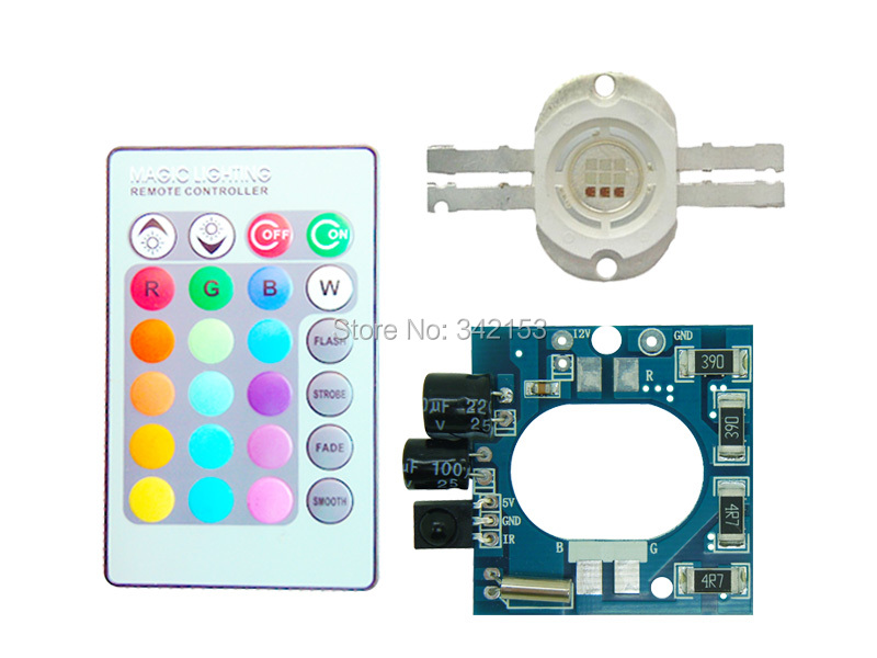 10W RGB Flash Multicolor LED Light + DC 12V Led Driver + 24 Keys Remote Control(China (Mainland))