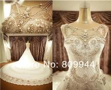High-end luxury crystal diamond luxury long trailing wedding dress rhinestone collar Peach(China (Mainland))