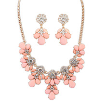 2016 Sapphire Jewelry New Promotion Necklace/earrings Women Crystal Zinc Alloy Jewelry Set Se115 Lovely Flower Textured Suit