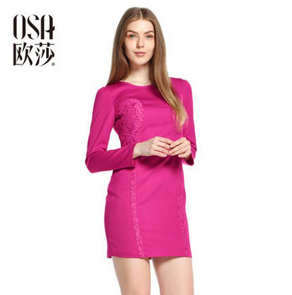 OSA 2014 Autumn Slim Dress Women Splice Lace High Waist Round Neck Long Sleeve Vestidos High Quality Rose Red SL404003(China (Mainland))