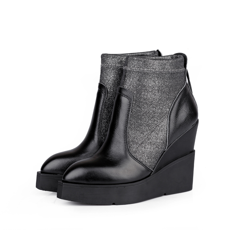 Peacock leather pointed high-heeled Chelsea boots Duantong Fashion Square, 2015 Winter slope with thick velvet woman shoes.