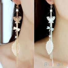 Women's Rhinestone Butterfly Dragonfly Leaf Drop Long Tassels Chain Linear Earrings 2J7M(China (Mainland))