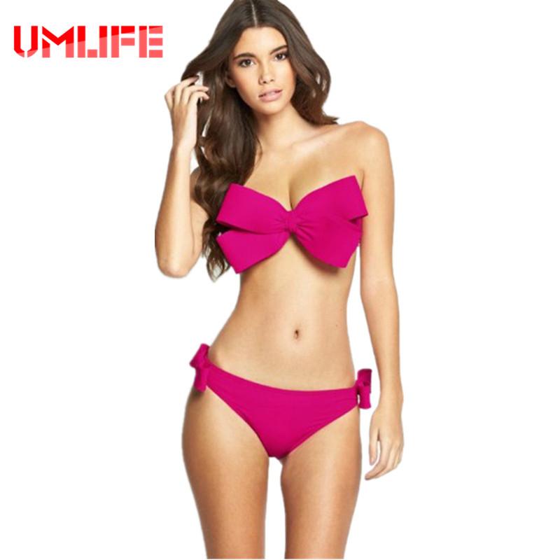 UMLIFE 2017 Micro Bikini Set Solid Swimwear Brazilian Bikini Swimsuit Sexy Big Bow Beach Wear Push Up Bathing Suit Red Swim Wear(China (Mainland))