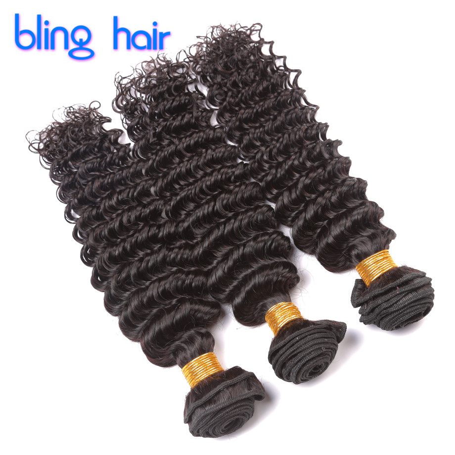 Bling Hair Brazilian Virgin Hair Deep Wave 3 Bundles Deep Wave Brazilian Hair 8A Human Hair Weave Bundles Brazilian Deep Curly