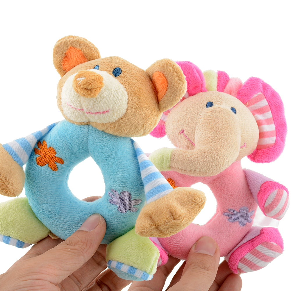 2016 New Cute Soft Blue Bear Plush Hand Rattle Educational Developmental Toys Doll for Baby Infant Gift High Quality(China (Mainland))