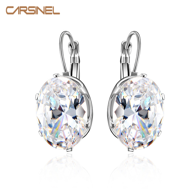CARSINEL Silver color Big Oval Zircon Hoop Earrings for Women Fashion Austrian Crystal 13*18mm CZ Bijoux Girls(China (Mainland))