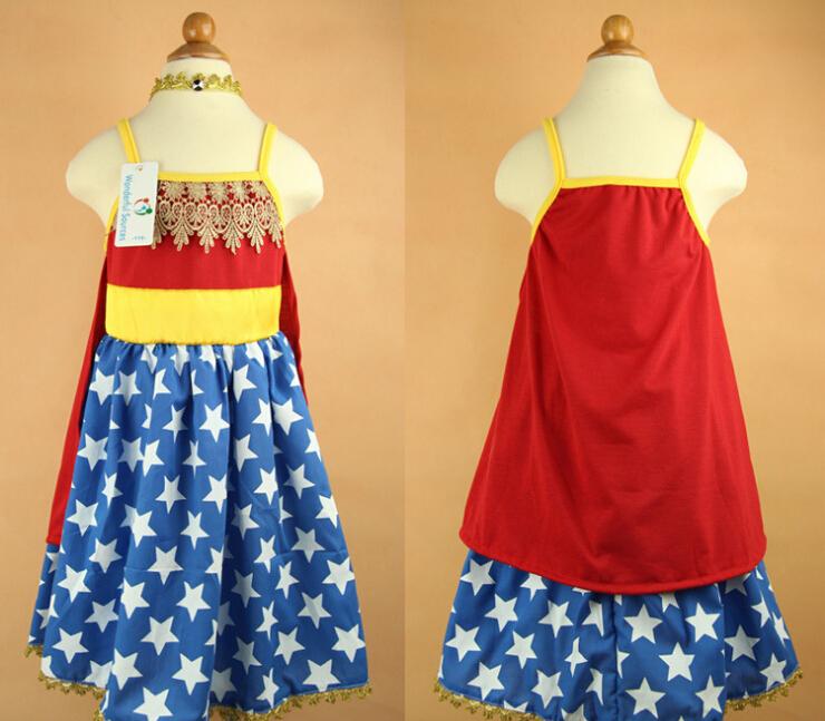 Vestido Fantasia robe reine des neiges Wonder Woman Tank Dress for Girls NEW 2015 Kids Clothes Dress<br><br>Aliexpress