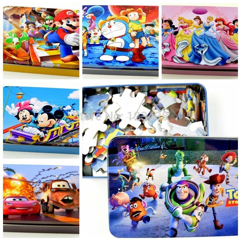100 parts Cartoon Metal Box Paper Puzzles & Magic Cubes Gift for Kid 14.2*10*3.5CM(China (Mainland))