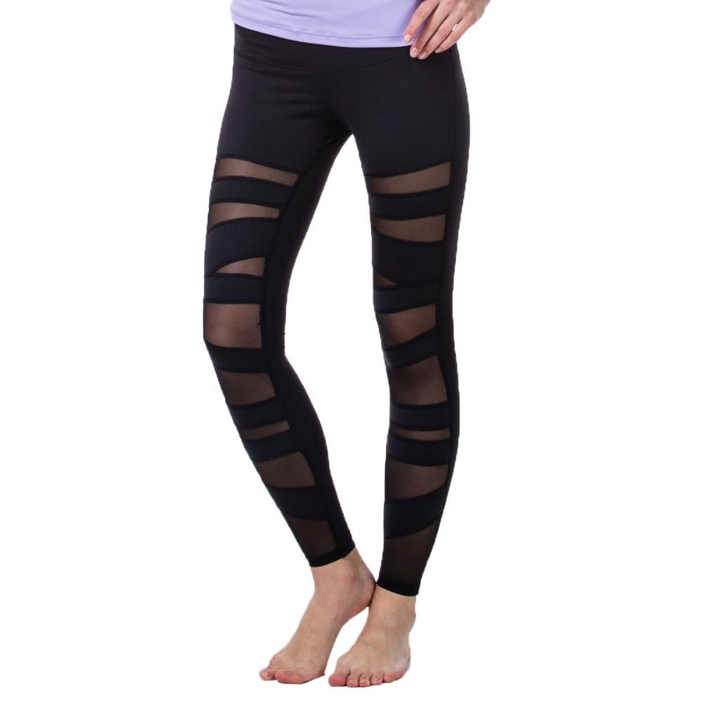 Women Fitness Yoga Pants Running Sports Leggings Hollow Mesh Tights Women High Waist Pants Pantalones Gimnasio Largo Mujer 15023(China (Mainland))