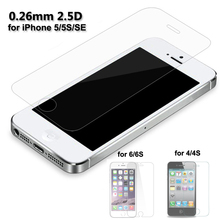 Ultra Thin 0.26mm Premium Tempered Glass Screen Protector For iPhone 5 5SE 4 6 S Toughened Protective Film With Cleaning Tools