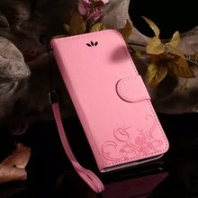 Sling Flip Cover Case For iPhone 5/ 5S SE/ 6 6S/ 6 6S Plus Wallet Bag Case Luxury Embossing Flower Leather Phone Pouch Case (China (Mainland))