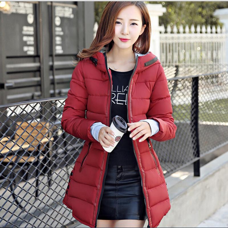 Winter Jacket Women Hooded Cotton Padded Jacket Long Cotton Coat Plus Size Winter Coat Women Slim
