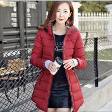 Winter Jacket Women Hooded Cotton-Padded Jacket Long Cotton Coat Plus Size Winter Coat Women  Slim Parka manteau femme  J077