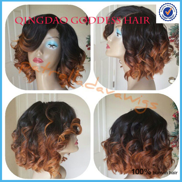 New Fashionable bob bang wig front lace glueless wig ombre T color 130% density unprocessed human hai bob cut wigs(China (Mainland))