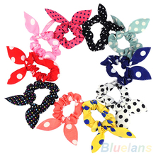 10Pcs Rabbit Ear Hair Tie Bands Accessories Japan Korean Style Ponytail Holder 2MWR