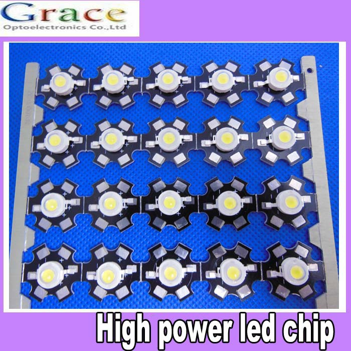 100pcs 3W 6000k-6500K High Power cool/pure White LED bead with 20mm Star PCB for DIY(China (Mainland))