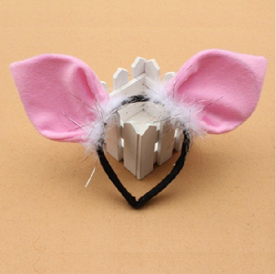 Free shipping,new style,COSPLAY animal ear headband ,big pink pig ear headband,Party headband,party favors for kids(China (Mainland))