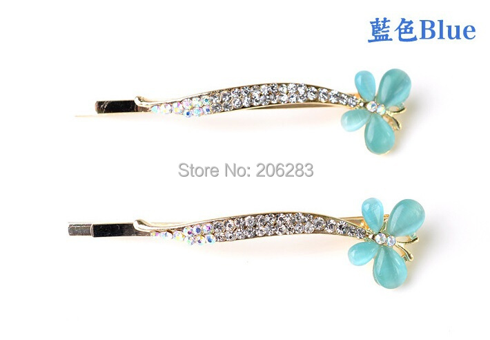Top quality elegant crystal women butterly hairpins Hair clips C7 6pairs/lot+free shipping(China (Mainland))