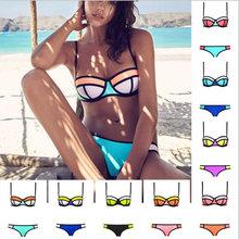2016 Women Fashion Brazil Female Swimsuit Low Waisted Patchwork Swimwear Push Up Bra Two Piece Swimming Suit Halter Bikini Set