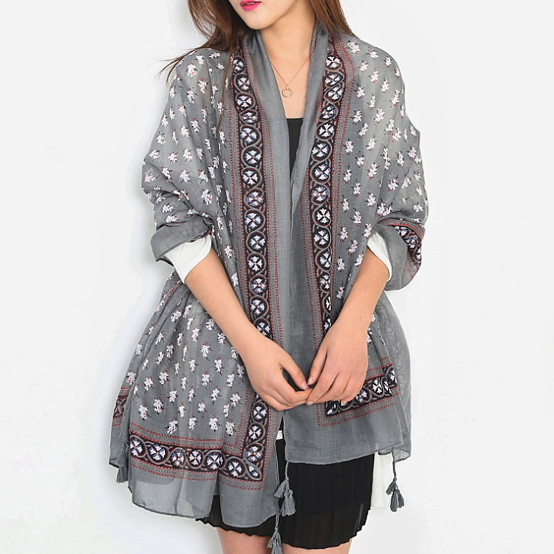 2016 New Korea Flower Design Printed Shawls and Scarves Cotton Scarf Women Cape Z-2329()