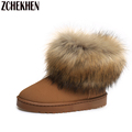 2016 Waterproof fashion flats snow boots fox fur ankle boots women fashion thick fur inside platform