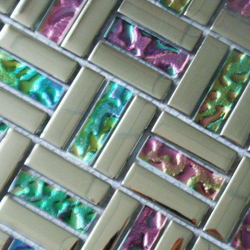 mosaic backsplash tiles silver iridescent tile metal coating tile