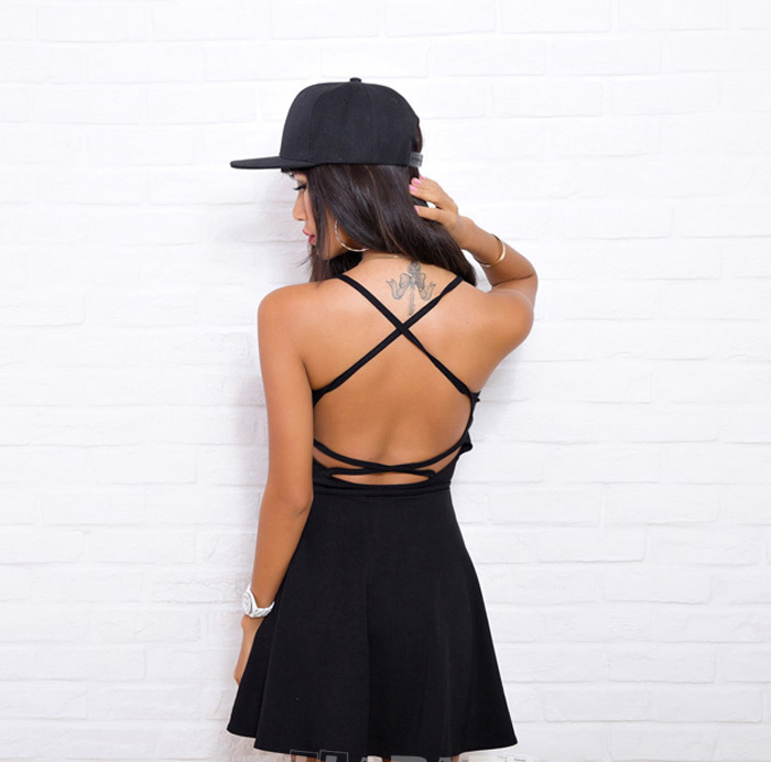 Elina's shop New 2016 summer woman strappy backless casual a-line mini dress brandy lolita vestido robe elbise jurken s m(China (Mainland))