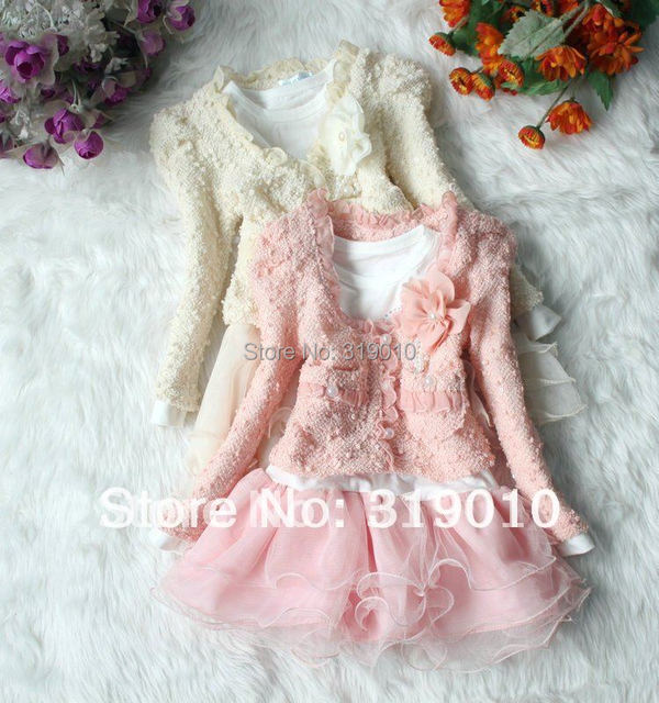 2016 New Kids Girl Dress Clothing Set 2PCS Girl Coat And Tuu Dress 2 Color Baby Cloth New Arrival Children's Wear And Garment