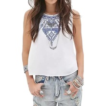 Fashion Women' Elegant Embroidery Short Vintage Blouses O-Neck Sleeveless Casual Shirt Slim Crop Tops Tank Vest HB88(China (Mainland))