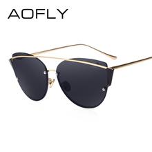 AOFLY Original Brand Sunglasses 2017 Super Fashion Cat Eye Women Glasses Double Bridge Frame Luxury Designer Revo Lens AF79106(China (Mainland))
