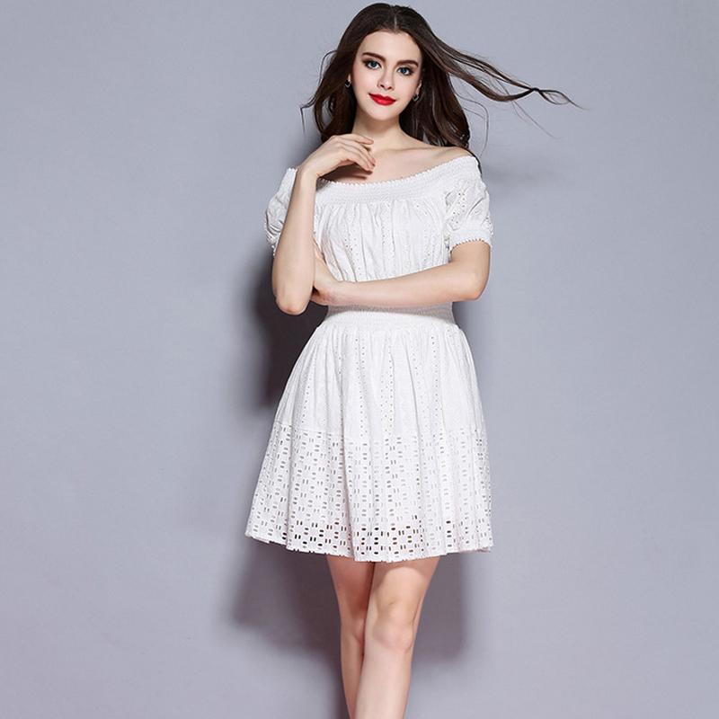 Women sexy slash neck sweet hollow out dress white mini short sleeve Vestidos fashion streetwear casual Chain Link Fence dress(China (Mainland))
