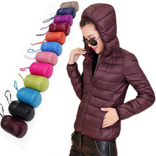 HOT! 2016 Winter Women 90% White Duck Down Jacket Women Hooded Ultra Light Down Jackets Long Sleeve Warm Coat Parkas Pouch Solid