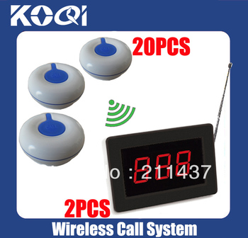 DHL freeshipping Nurse calling system for patient of 2 wireless receiver + 20 waterproof 100% Call Button O1