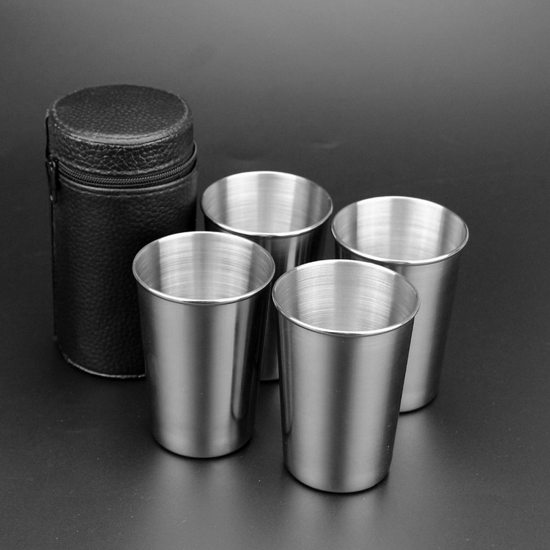 180ml Stainless Steel Camping Cup Mug Set Outdoor Hiking Folding Portable Tea Coffee Beer Cup With Black Bag VEO76 P15 0.5(China (Mainland))