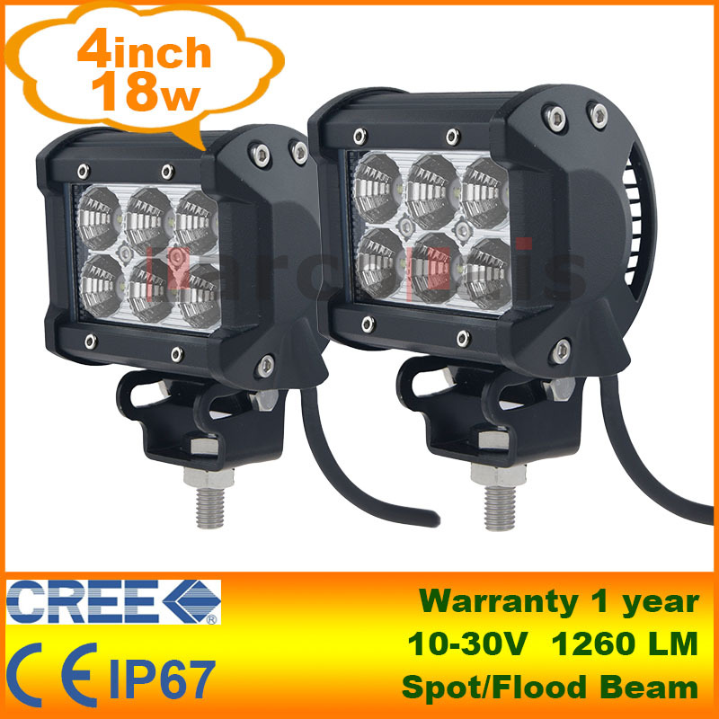 "2pcs 4"" 18W Cree LED Work Light Lamp Tractor Boat Off-Road 4WD 4x4 12v 24v Truck SUV ATV Spot Flood Super Bright(China (Mainland))"
