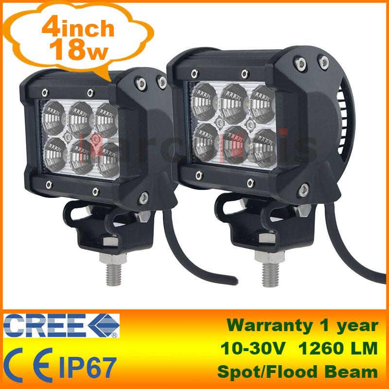 "2pcs 4"" 18W Cree LED Work Light Lamp Tractor Boat Off-Road 4WD 4x4 12v 24v Truck SUV ATV Spot Flood Super Bright(China (Mainland))"