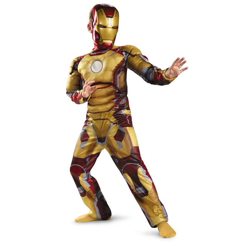 Genuine Kids Avengers Iron Man Mark 42 / Patriot Muscle Child Halloween Costume Boys Marvel Movie Superhero Cosplay Clothing(China (Mainland))